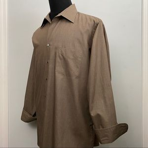 Arrow Mens Long Sleeve Button Down Shirt XL Brown